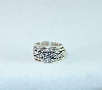 Triple Spinner Wide-Band Ring 925 Sterling Silver Sizes 6.5, 7.5, 8.5