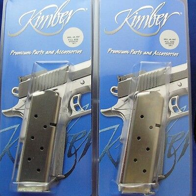 PAIR Factory Kimber 1911 Magazine 45 ACP Stainless Full Size 8 Round CLIP TWO 2