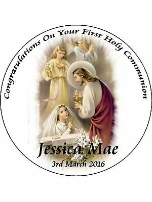 """First Holy Communion 7.5"""" Round Cake Toppers Personalized Edible Photos Item 760"""