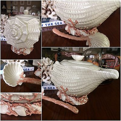 FITZ AND FLOYD OCEANA TUREEN & LADLE SEASHELLS  CORAL DESIGN NEVER USED W/Labels