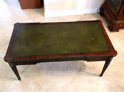 Rare Weiman Mahogany Coffee Table With Leather Top Large Hollywood Regency