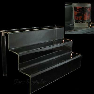 "Acrylic 2"" Shelf 3 Stairway Appetizer or Dessert Display Stand 12"" Wide"