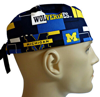 Men's Adjustable, Fold-Up Surgical Scrub Hat in Michigan Wolverines New Block