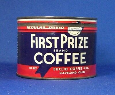 keywind tin FIRST PRIZE  COFFEE 1lb original lid EUCLID COFFEE CO Cleveland Ohio