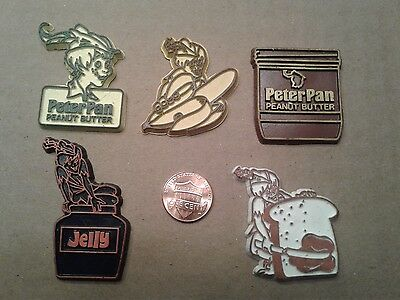 Disney Peter Pan Peanut Butter and Jelly 5 Vintage Rubber Magnets Lot