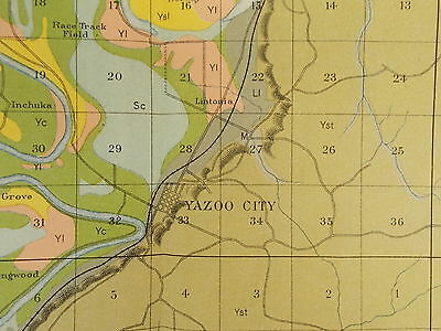 Antique 1901 Map Mississippi Yazoo City Cambellsville Lintonia Approx 21 X 34