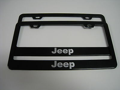 """2 Brand New """"JEEP"""" BLACK Metal License Plate Frame Front&Rear"""