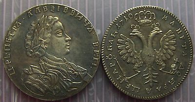 Russian  coin 1 Ruble dated 1710 with Peter the Great