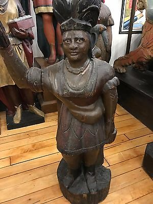 Antique 1880's Hand Carved Wooden Cigar Store Indian Trade Sign Display Figure