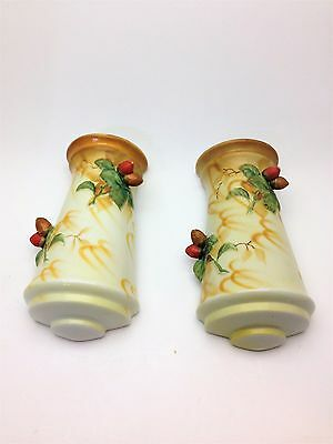 Vintage Pair of Hand Painted Wall Pockets with Acorns Made in Japan