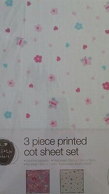 Butterflies and love hearts 3 pce cot sheet set