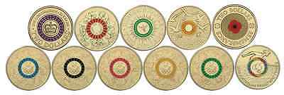 All 12 Coloured $2 Australian Coins - Anzac Olympic Paralympic Poppy Coronation