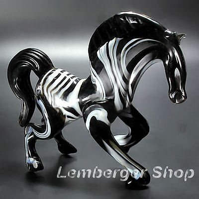 Glass figurine zebra made of colored glass. Lenght 10 cm / 4 inch!