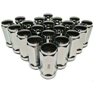 """20 Chrome 14x2 Lug Nuts 1.9"""" Long Bulge Acorn with 3/4"""" Hex Ford Expedition F150"""