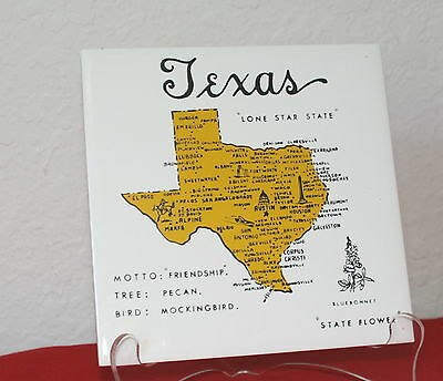 Vintage 60's Hand Decorated Texas Destination Tile Trivet Made In Japan