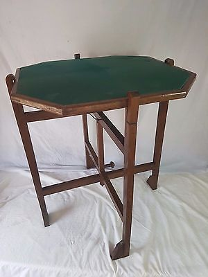 Revertable Vintage Folding Card Table Tea Table Fire Screen. Original Baize