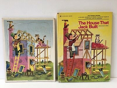 Vintage The House that Jack Built Playskool Tray Frame Puzzle Golden Book Set