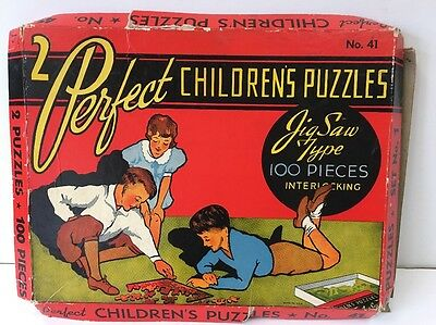 Vintage 2 Perfect Children's Puzzles Jig Saw Type Interlocking No. 41 Set No. 1
