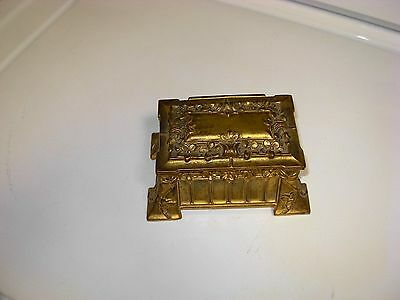 Antique Footed Brass Casket Jewelry Box