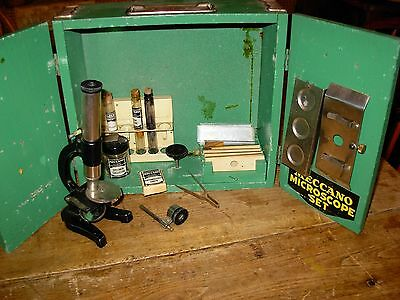 ANTIQUE VINTAGE 1940'S? MECCANO MICROSCOPE LAB SET in GREEN WOOD BOX