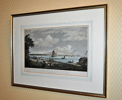 Superb Framed Antique 1820's Coloured Engraving. Liverpool From Seacombe. Wirral
