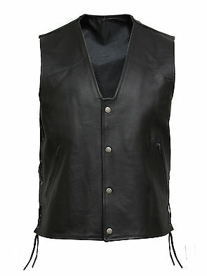 Mens Vintage Motorbike Motorcycle Leather Waistcoat Vest Cowhide Leather