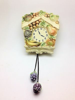 Vintage Clock with Fruit Wall Pocket Tilso Handpainted Made in Japan