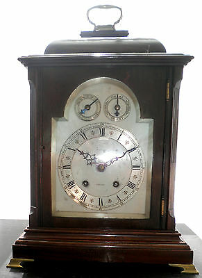 Antique Large Bracket Clock 8 Day Mahogany Chiming V.g.condition Signed Dial Vgc
