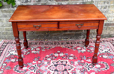 Genuine Victorian Antique English Mahogany Writing Table With Drawers ..