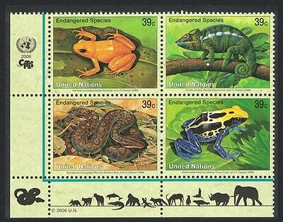 UN New York Frog Chameleon Boa snake Block of 4 SG#966/69