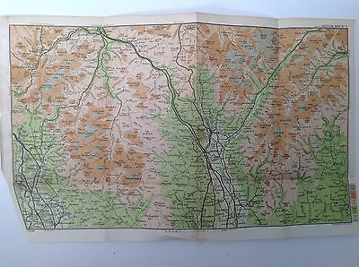 Moffat, Thornhill, Wanlochhead, Scotland 1908 Antique Map Bartholomew, Atlas