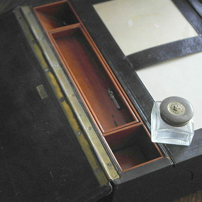 parkins and gotto antique black leather   WRITING BOX SLOPE