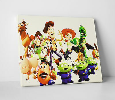 TOY STORY WOODY, Buzz And The Gang Kids Bedroom Canvas Wall Art ...