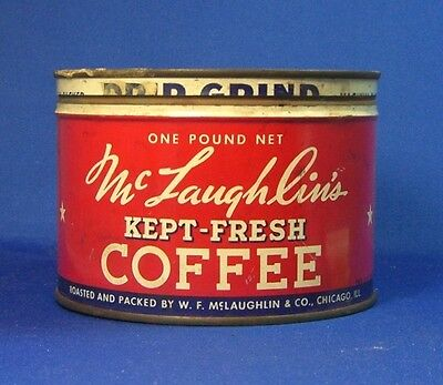 keywind tin McLAUGHLIN'S KEPT-FRESH COFFEE 1lb orig lid CHICAGO McLaughlins & Co