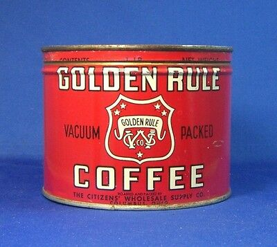 keywind tin GOLDEN RULE COFFEE 1lb orig lid CITIZENS' WHOLESALE SUPPLY Columbus