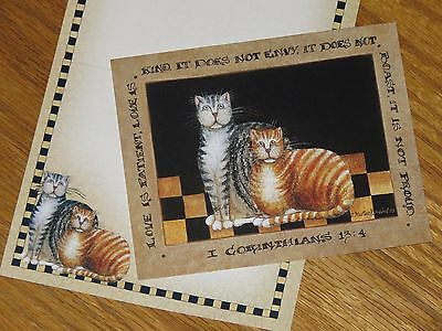 D. Masters Kriebel Art Cats LOVE IS 1999 Old Glory Lang Note Cards 3ct