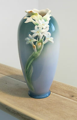 RARE Early FRANZ Ceramic Vase TUBEROSE BLUE FLOWER XP1893 Signed WEI XUET MEI