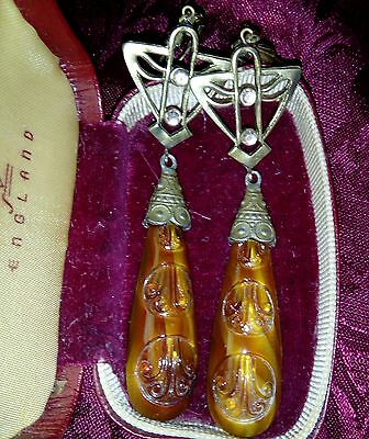 Antique Art Nouveau Egyptian Revival Czech Glass Earrings Signed Czecho