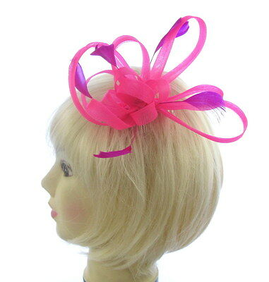 Hot pink looped and coiled fascinator  hair comb, Weddings, Races, Prom