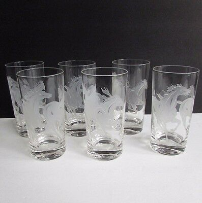 6 Etched Sand Blasted Stallion Mustang Thoroughbred Horse Highball Glasses