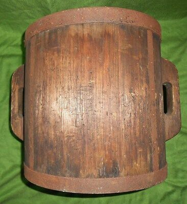 Large antique hand made marked Chinese wood wrought iron bucket barrel basket