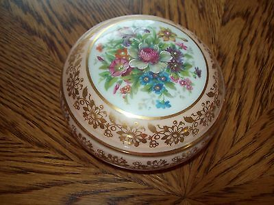 Limoges Rehausse Main Hand Painted France Trinket Box