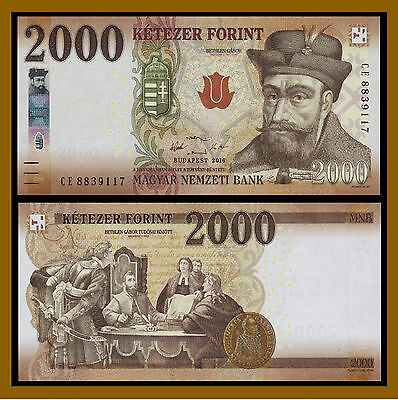 Hungary 2000 Forint, 2016 P-New New Design Unc