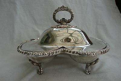 A Vintage Silver Plated Twin Sectioned Serving Dish With Cover On Four Feet