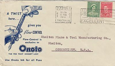 Stamps Australia 2d KGV1 uprated on ONOTO fountain pen 1941 advertising cover