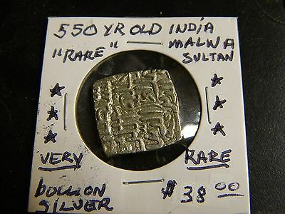 """Indian Coin Malwa Sultanate 500 Years Old """"rare Coin"""" Au+  """"nice"""" Silver !!"""