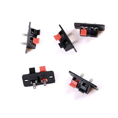 5x 2 Positions Push in Jack Spring Load Audio Speaker Terminals Panel Connector!