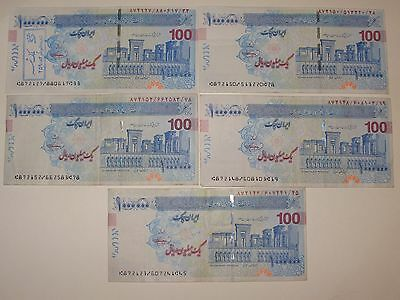 5x1,000,000 rial Iran Cheques circulate freely and are treated as cash (used)