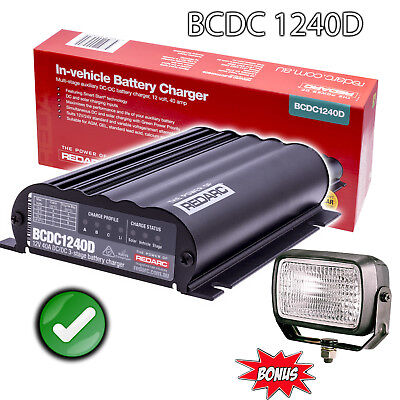 Redarc Bcdc1240D Dual Dc To Dc Charger Solar Agm & Lithium Battery +Work Light