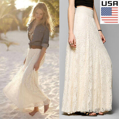 USA Women Double Lace Layer Chiffon Pleated Long Maxi Dress Elastic Waist Skirt